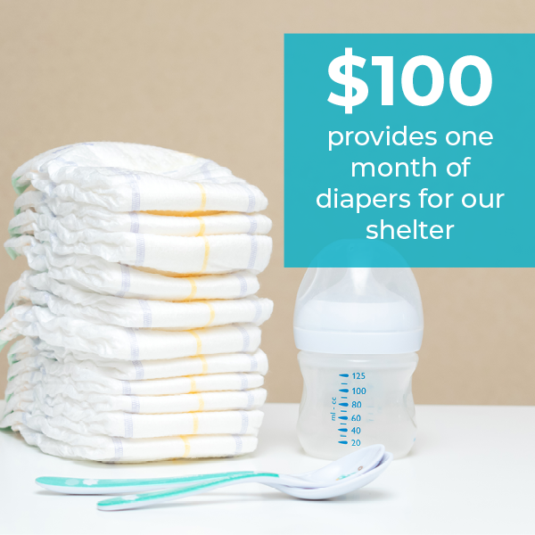 stack of diapers with text $100 provides one month of diapers for our shelter